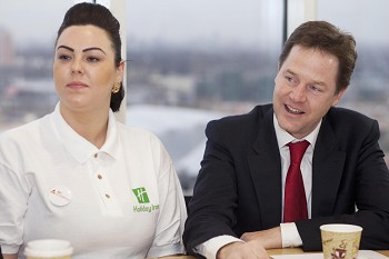 Clegg hails new jobs at hotel chain